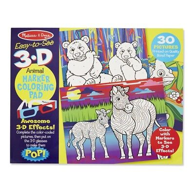 Melissa and Doug Easy-to-see 3D - Colouring Pad - Animals