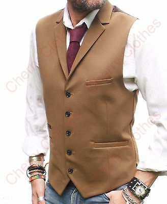 Mens Camel Brown Lapel Collar Waistcoat Slim Fit Vest - All Sizes
