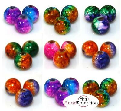 NEW STUNNING COSMIC DRAWBENCH GLASS BEADS  8mm or 6mm COLOUR CHOICE