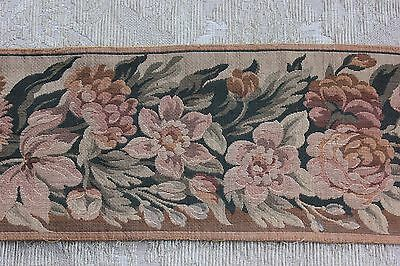 Beautiful Antique French Jacquard Woven Floral Tapestry Border Fabric c1890