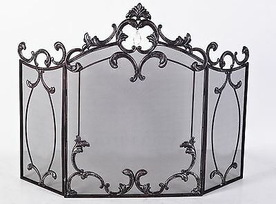 Natural Iron Ornate Scroll Deluxe 3 Fold Fire Guard - With Hanging Jewel Motif