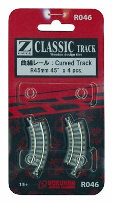 Rokuhan R046 R45mm 45 Curved Track 4 pcs. (1/220 Z Scale)