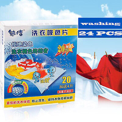 Novelty 24 Sheets Laundry Clothes Washing Super Sucking Color Magic Paper /