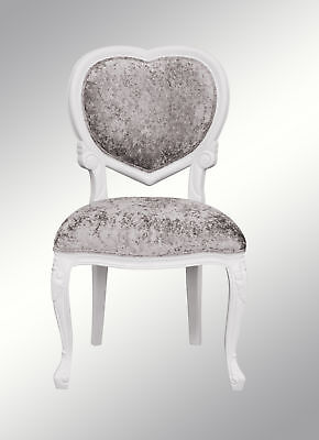 French Louis XV Medee  -  Heart Chair  - White  with crushed silver velvet