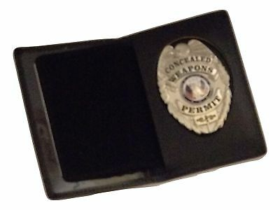 Leather Badge & ID Case Black Shield Cutout Wallet Security Police Fire Rescue