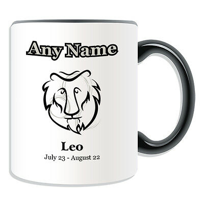 Personalised Gift Black Simple Drawing Leo Mug Money Box Cup Star Sign Name Tea