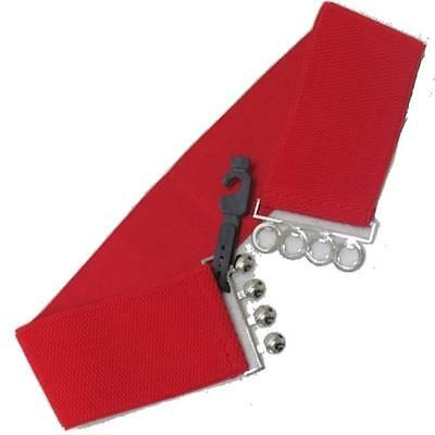 Wide Waist Belt With Silver Buckle Thick Red Elasticated stretch