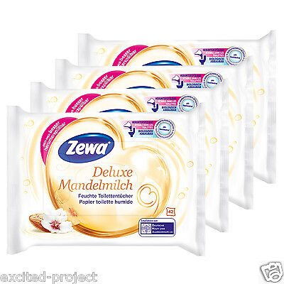 Zewa Deluxe Wet Toilet Wipes With Almond Milk Touch & Provitamin B5 - 4 x 42 Pcs