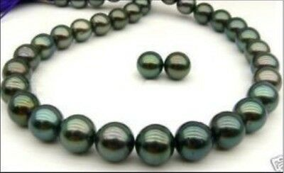 Exquisite 9-10mm Tahitian black AAA pearl necklace 18 inch earring 14k