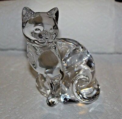 "Lenox Fine Crystal 6"" Clear Siamese CAT Paperweight Art Glass 1993"