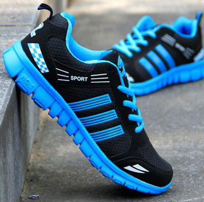 Men's Running Breathable Sports shoes Casual Athletic Sneakers Shoes black blue