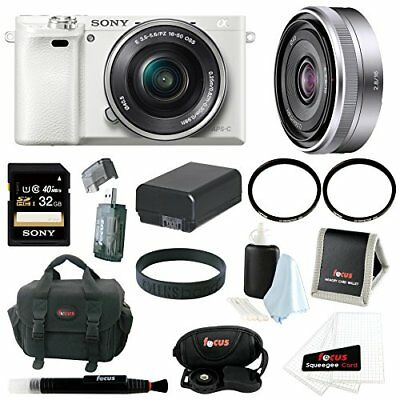 Sony a6000 Camera with 16-50mm Lens + Sony 16mm F2.8 E Lens + 32GB Deluxe Bundle