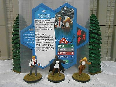 Heroscape Custom Undercover Detectives Double Sided Card & Figure w/ Sleeve DC