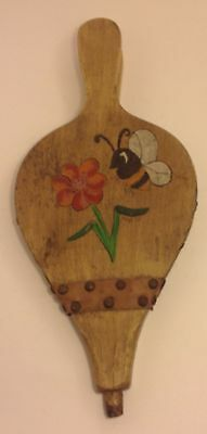 Vintage Fireplace Bellow Fire Stoker Wood Hand Painted Bee Flower Leather