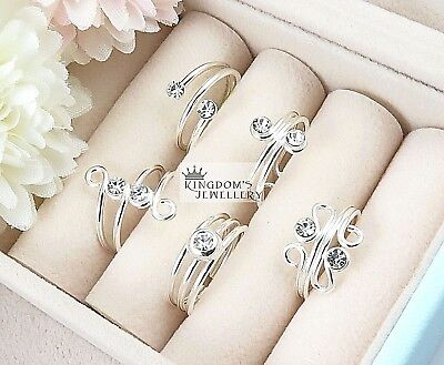 925 Sterling Silver Clear Crystals Toe Rings with different designs