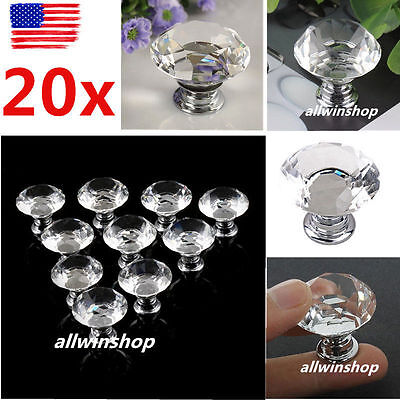 20X 30mm Crystal Glass Cabinet Knob Diamond Shape Drawer Cupboard Handle Pull OH