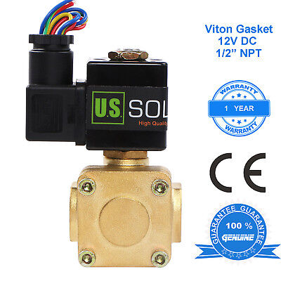 "U.S. Solid 1/2"" Brass Electric Solenoid Valve 12V DC Normally Closed Air Water"