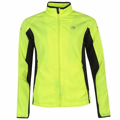 Womens Ladies Karrimor Hi-Viz Fluorescent Yellow Running Jogging Coat Jacket Top