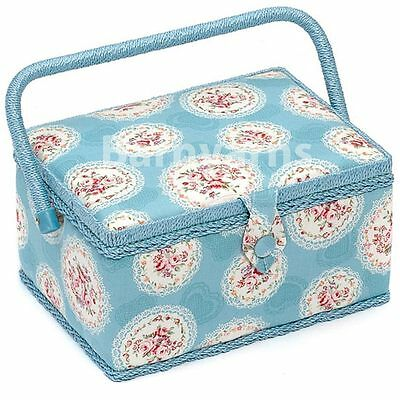 MEDIUM Sewing Box - Fabric Sewing Basket, Handle & Tray Blue Cameo Floral