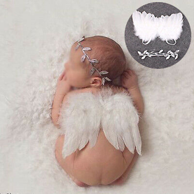 Newborn Baby Costume Leaf Headband + Angel Wings Photo Photography Props Outfits
