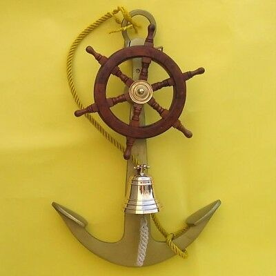 "NAUTICAL MARINE NAVIGATION 24 "" Tall Aluminum ANCHOR Wood SHIP WHEEL Brass BELL"
