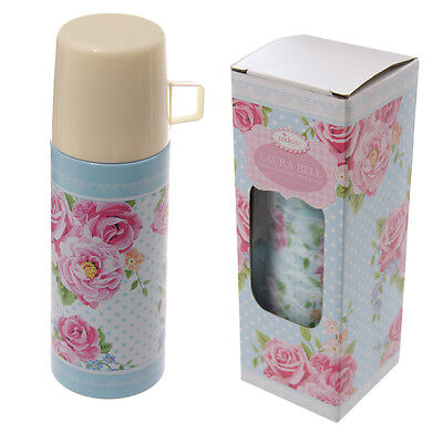Stainless Steel Floral Chintz Design Shabby Chic Style 350ml Flask and Cup Boxed