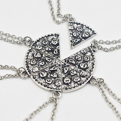 Best Friend Necklace Silver Slice Pizza Pendant Chain 6pc BFF Friendship Gift UK
