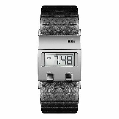 Braun Men's Digital Watch with Silver LCD Dial & Black Leather Strap BN0076SLBKG