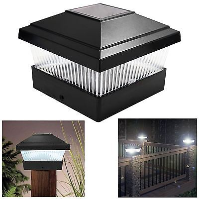 Solar LED Powered Light Garden Deck Cap Outdoor Decking Fence Post Square Lamp