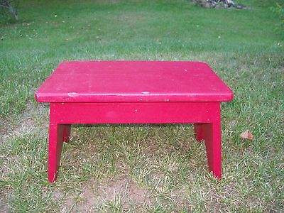 VINTAGE solid wood  step stool footstool wood kitchen stool painted red 16""