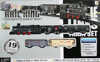 Rail King Intelligent Classical Toy Train Set True Style Finely Detailed Battery