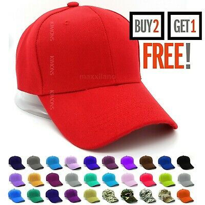 7b2ab25e3 Hook-N-Loop Plain Baseball Cap Solid Color Blank Army Hat Adjustable Men  Women