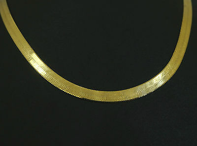 "18ct Yellow Gold 16"" Herringbone Chain / Necklace 5mm Link"