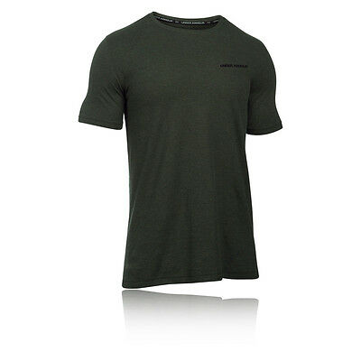 Under Armour Charged Cotton Hombre Verde Manga Corta Running Camiseta Top Correr