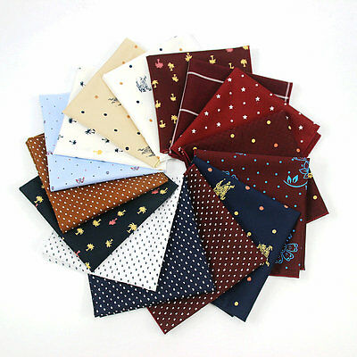 "10"" Mens Polka Dot Floral Handkerchief Cotton Pocket Square Wedding Party Hanky"
