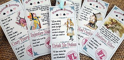 6 Alice in Wonderland Themed 'Wonderland Inventory' Pastel Gift Tags & Ribbon