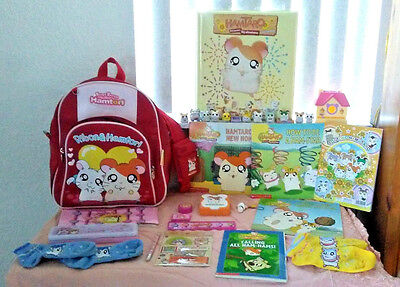 Hamtaro Lot Hideaway Figures Books Stickers Banga Banga Ribon Hamtori Backpack +
