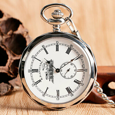 Vintage Open Face Silver Locomotive Mechanical Hand Winding Pocket Watch Chain