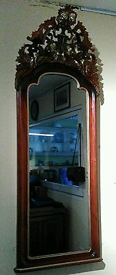Spiegel Mirror Mahogani filigran carved and parcel gild auth. 19.Cent.