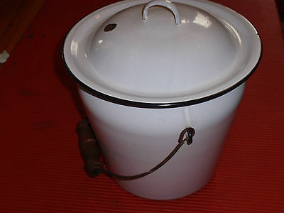 Antique Enameled Porcelain White Lidded Pot With Handle