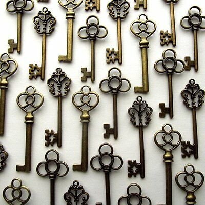 Set Of 30 Large Skeleton Keys Antique Bronze Vintage Home Art Wedding Gift NEW