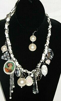 Trendy Chunky Victorian Vintage Style Large Pearl Large Bead  Necklace Set