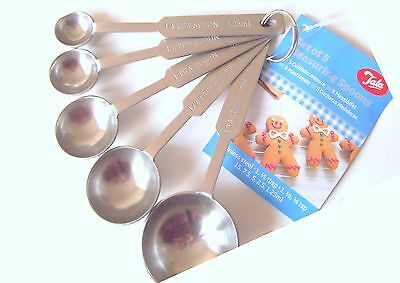 New Tala 5 Pcs Stainless Steel Measuring Spoon Set Silver Measurement Engraved