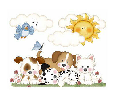 Puppy Nursery Decor Mural Decal Wall Art Dog Stickers Baby Shower Paw Prints