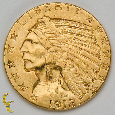 1912 $5 Gold Indian Head Half Eagle Coin (About Uncirculated Condition)