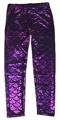 Toddler Girls Glittery Full Length Mermaid Fish Scale Print Leggings Pants