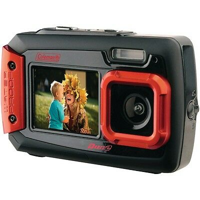 COLEMAN 2V9WP-R 20.0 Megapixel Duo2 Dual-Screen Waterproof Digital Camera (Red)