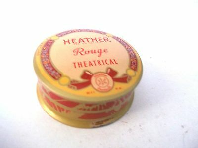 vintage 1940s beauty aid Heather Rouge THEATRICAL powder compact tin