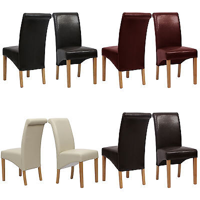 Top Quality Leather Dining Chair Roll Top Scroll Back Oak Seat Furniture 9140