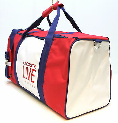 Lacoste Red, Blue & White Mens Holdall Sport Duffle Overnight Travel Bag